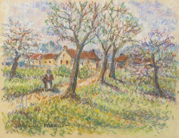 Paul Emile Pissarro (French, 1884-1972) Orchard with Peasant 8 3/4 x 11 1/4in (22.2 x 28.6cm)