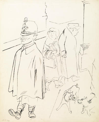 George Grosz (German, 1893-1959) Figures on a Sidewalk (Figures Walking - double sided) 25 1/2 x 20 1/2in (64.7 x 52cm)