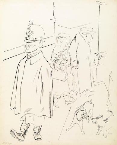George Grosz (German, 1893-1959) Figures on a Sidewalk (Figures Walking - double sided) 25 1/2 x 20 1/2in (64.7 x 52cm)
