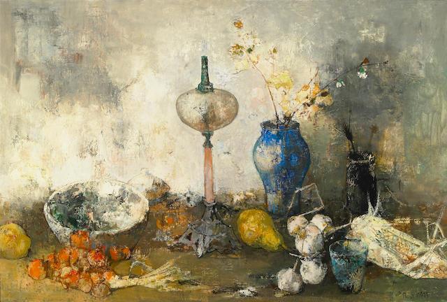 Jean Jansem, Still Life, oil on cavnas