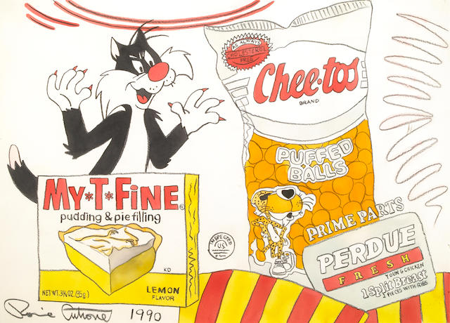 Ronnie Cutrone, My T Fine Perdue, 1990, mixed media on paper