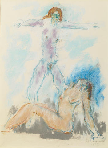 Hans Gustav Burkhardt (American, 1904-1994) Two Female Nudes, 1975 23 x 17in (58.5 x 43.2cm)