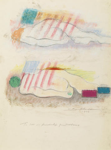 Hans Burkhardt, Reclining Nude, oil stick, 1975, (acquired directly from the artist)