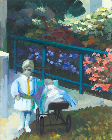 * HOLLY TO GIVE VALUE *, James Weeks, Study for two Children in a Garden, 1963, signed on reverse: W