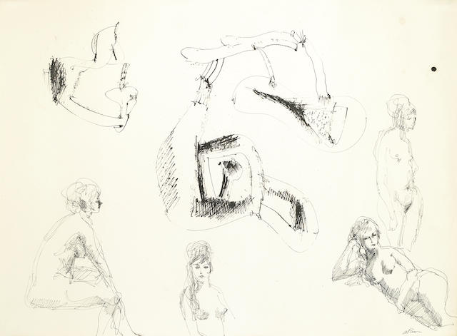 John Altoon, Untitled (four nude studies), ink on paper