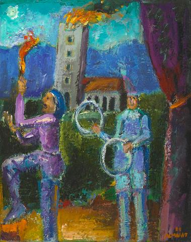 Carlos Almaráz (Mexican/American, 1941-1989),   Providence & Charity, 1988-1989 10 x 8in (25.5 x 20.3cm)