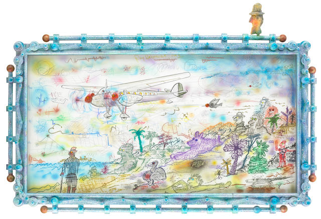 Roy De Forest, Airplane Drawing, 1993, mixed media on paper with constructed frame