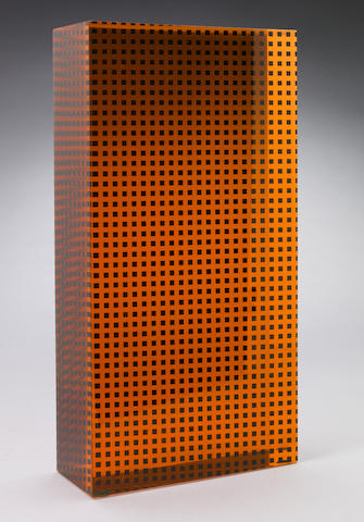 Vasa Velizar Mihich (Yugoslavian, b.1933) Untitled (Orange and Black Column), 1981 12 x 2 1/2 x 6 1/