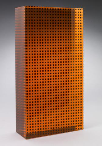 Vasa Velizar Mihich (Yugoslavian, b.1933) Untitled (Orange and Black Column), 1981 12 x 2 1/2 x 6 1/