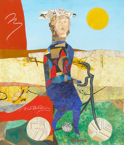 Max Papart, Figure on Bicycle, collage