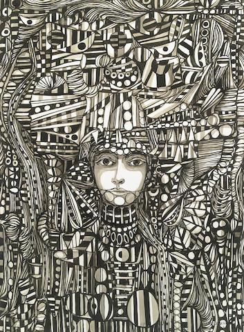 René  Portocarrero (Cuban, 1912-1986) Figura Ornamentada, 1963 31 x 23in (79 x 58cm)