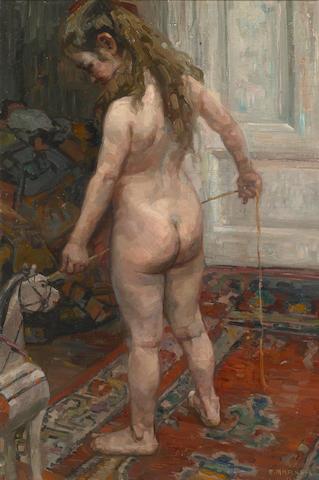 Alfred Marxer (Swiss, 1876-1945) Mädchen mit Holzpferd, 1908 38 1/2 x 25 1/2in (98 x 65cm)