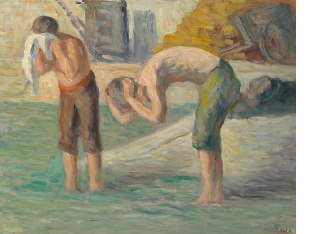 Maximilien Luce, ouvrier se lavant au bord de la seine, huile sur toile, 41 x 52 cm, signe en bas a droite