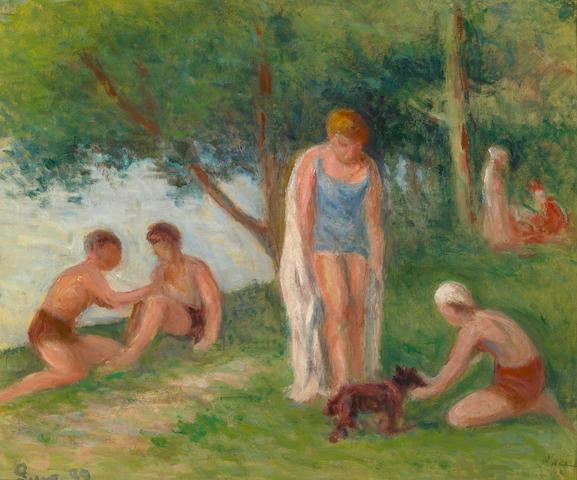 Maximilien Luce, Rolleboise, apres le bain, huile sur toile, 38 x 46, signe et date 1939 en bas a droite