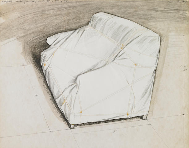 Christo (Bulgarian,b.1935) Wrapped Couch  72 x 57 x 4.5cm