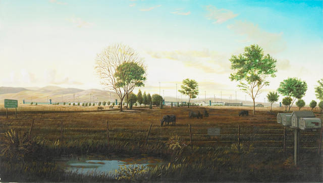 Sandow Birk, North Kern State Prison, Delano, Califronia, 2000, oil and acrylic on canvas