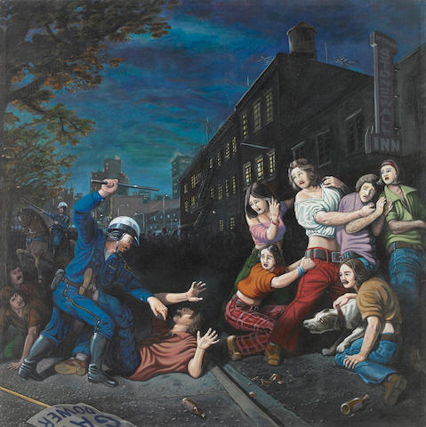 Sandow Birk, The Provocation (Stonewall 1969), 1999, oil and acrylic on canvas