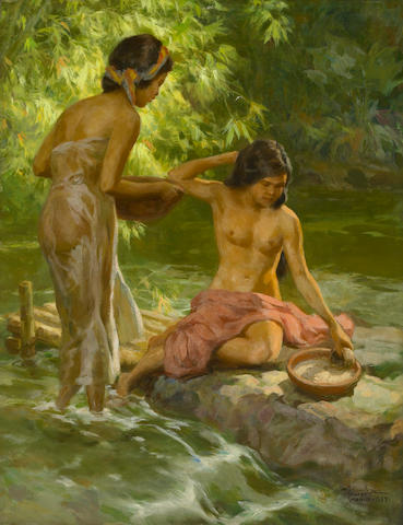Fernando Cueto Amorsolo (Filipino, 1892-1972) Bathing, 1957 28 1/4 x 22in (72 x 56cm)
