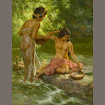 Fernando Amorsolo, Two Beauties Bathing by the River, 1957, oil on canvas