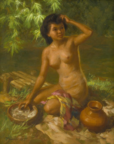 Fernando Cueto Amorsolo (Filipino, 1892-1972) Bathing in the River, 1951 16 x 20in (41 x 51cm)
