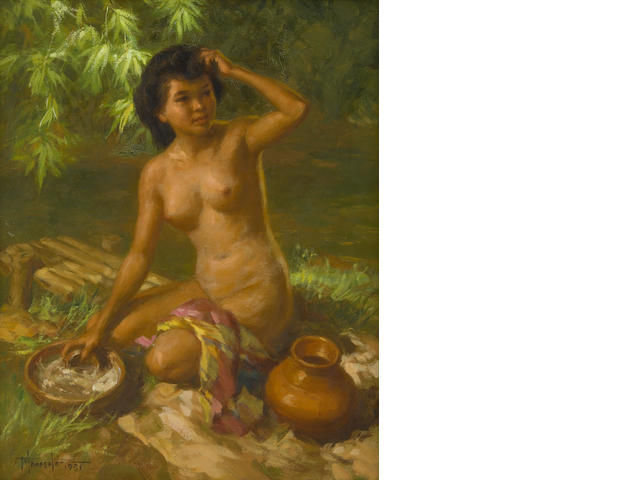 Fernando Amorsolo, Beauty by the River, oil on canvas