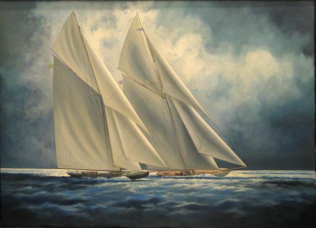 Tony Upson Shamrock IV and Resolute 40 x 60in (101.6 x 152.4cm)