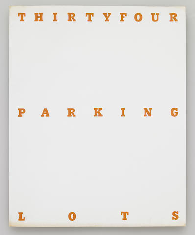 Ed Ruscha, ThirtyFour Parking Lots, Los Angeles, 1967, black offset printing on white paper, inscribed and signed