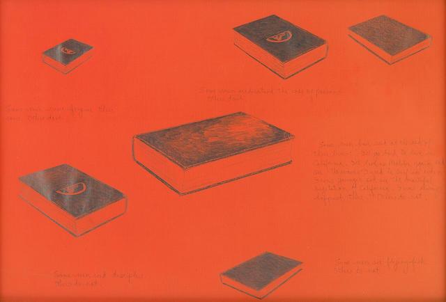 Allen Ruppersberg, Some Men (5), pencil, ink on paper