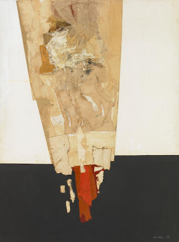 Eugenio Carmi, Senza Titolo, 1962-63, oil, linen, newspaper and paper collage on canvas