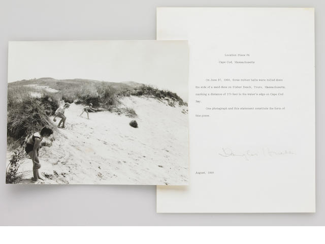 Douglas Heubler, Location Piece #4, Cape Cod, Massachusetts, August 1968, signed letter and photograph