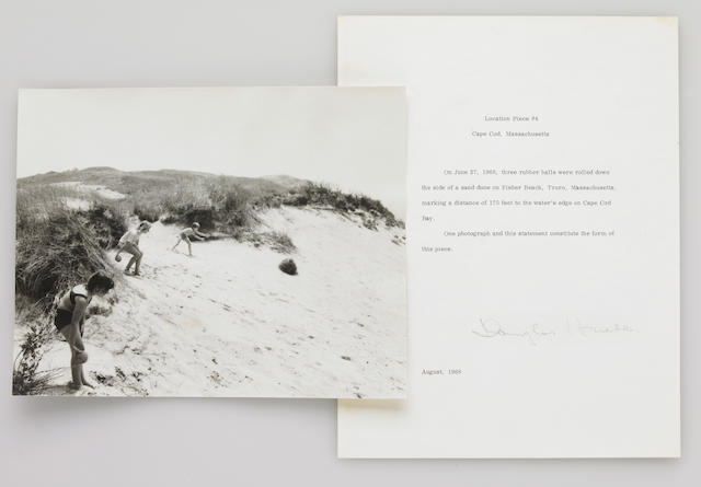 Douglas Heubler, Location Piece #4, Cape Cod, Massachusetts, August 1968, signed letter and photograph