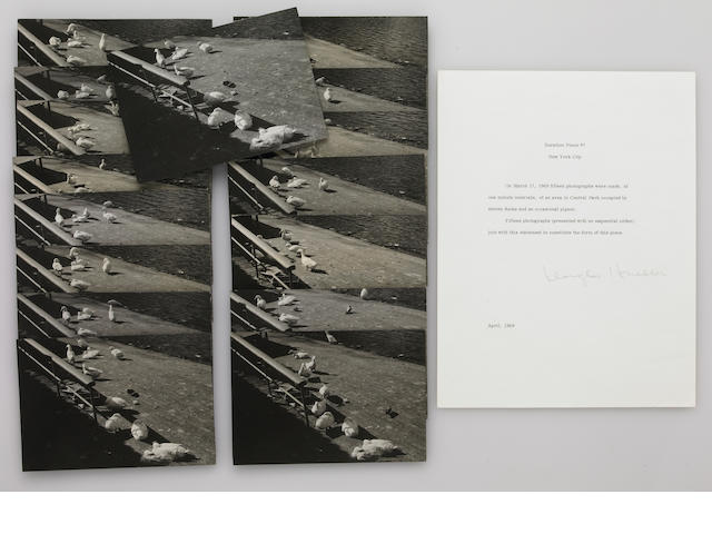 Douglas Heubler, Duration Piece #7, New York City, March 17, 1969, letter and 16 signed photographs