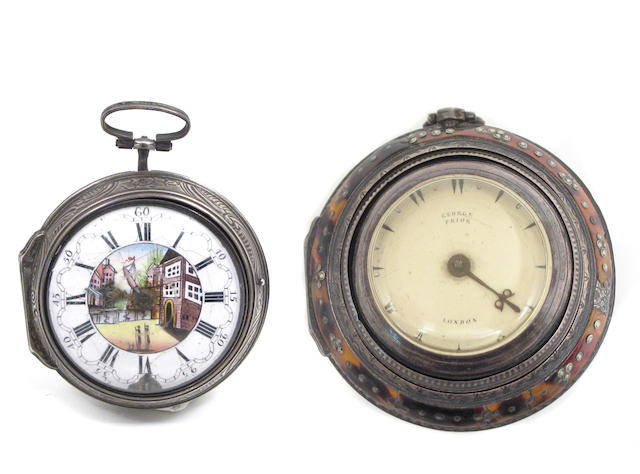 A group of four pocket watches