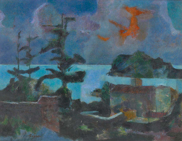 Jack Zajac (23), Lake, ca 1950, Oil on canvas, 28 x 36 inches