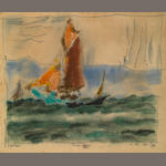 Lyonel Feininger, Fischer-Kutter, 1922, watercolor and ink on paper