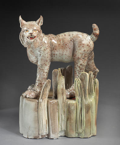 Viola Frey (American, 1933-2004) Spanish Lynx (from Endangered Species Series) height with base 22in (55.9cm)