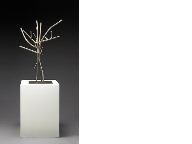 David Anderson, Untitled, Stainless steel and wooden base, 36x13x13in.