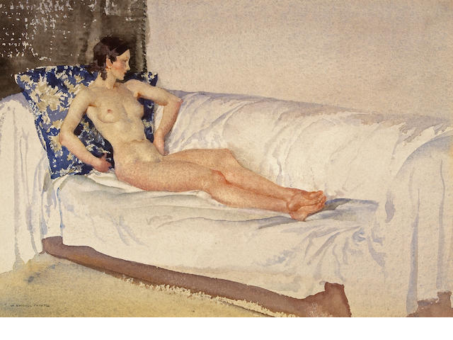 Sir William Russell Flint R.A., P.R.W.S. (British, 1880-1969) The brocade cushion 9 3/4 x 13 1/2in (
