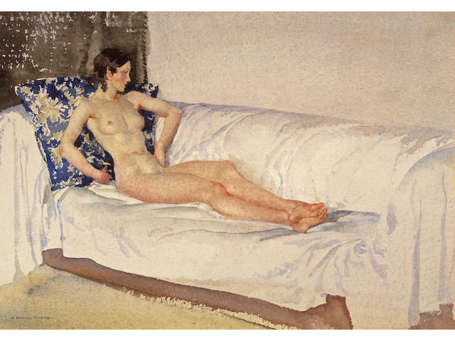 Sir William Russell Flint R.A., P.R.W.S. (British, 1880-1969) The brocade cushion 9 3/4 x 13 1/2in (24.8 x 34.3cm)