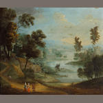 Anglo-Flemish School, 18th Century A capriccio landscape with figures conversing in the foreground 1