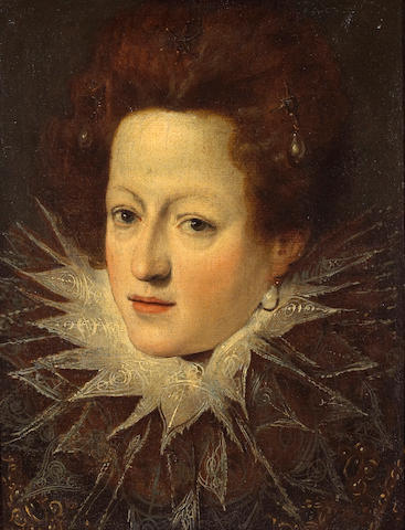 Florentine School, 17th Century A portrait of a noblewoman with a lace collar 16 1/2 x 12 3/4in (42