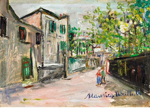 Maurice Utrillo (French, 1883-1955) Rue Saint Vincent à Montmartre (No 28 167) 6 x 9in (15.2 x 22.9cm)