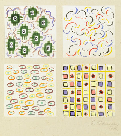 Sonia Delaunay-Terk (French, 1885-1979) Untitled, 1923 (4) each sheet 4 x 4in (10 x 10cm)