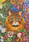 Louis Wain (British, 1860-1939) A cat among flowers 13 3/4 x 9 3/4in (34.9 x 24.7cm)