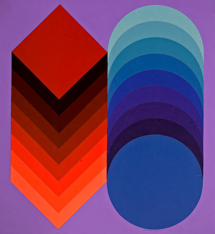 Victor Vasarely (Hungarian, 1906-1997) Kidio - Nain, 1972/75  42 x 38 1/2in (106.5 x 98cm)