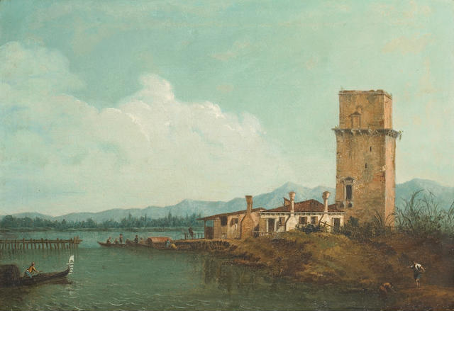 Follower of Antonio Canal, called il Canaletto (Venice 1697-1768) A view of the Tower of Malghera 13 3/4 x 20in (35 x 51cm)