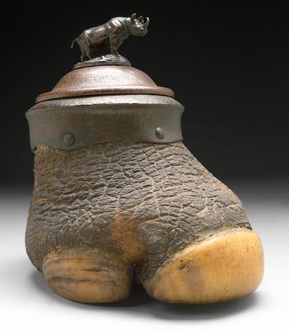 Bronze-Mounted Rhinoceros Foot Humidor