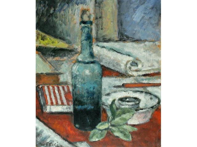 Ardengo Soffici (Italian, 1879-1964) Bottiglia con Foglie 16 1/4 x 13 1/2in (41.2 x 34.3cm)