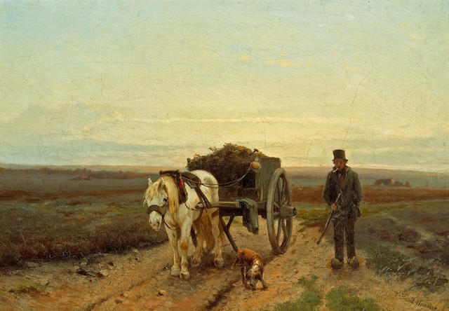 Anton Mauve (Dutch, 1838-1888) Going home 13 1/4 x 19in (33.6 x 48.3cm)
