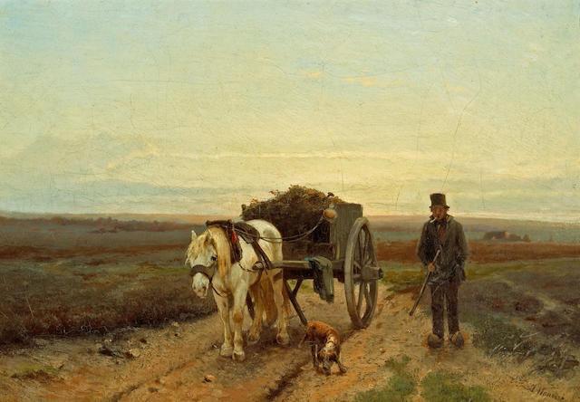 Anton Mauve (Dutch, 1838-1888) Going home 13 1/4 x 19in (33.6 x 48.3cm)